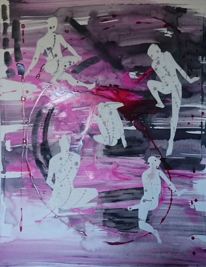 Männergruppe, 2014, Collage, Acryl, Bleistift, 64 x 40 cm