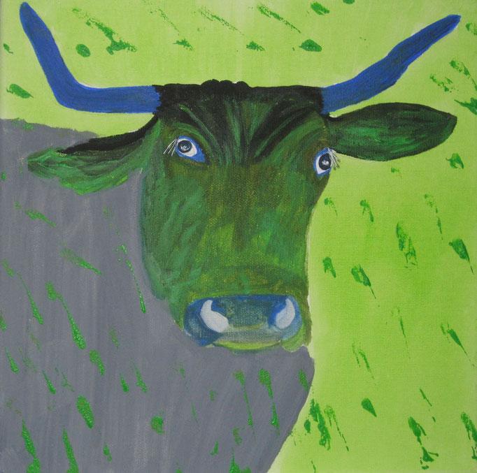 Kuh bunt 2, 2019 Acryl auf Leinwand, 30 x 30 cm