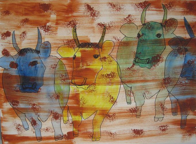 Bunte Kühe, 2019, Zeichnung Tinte und Acryl auf Leinwand, 50 x 70 cm