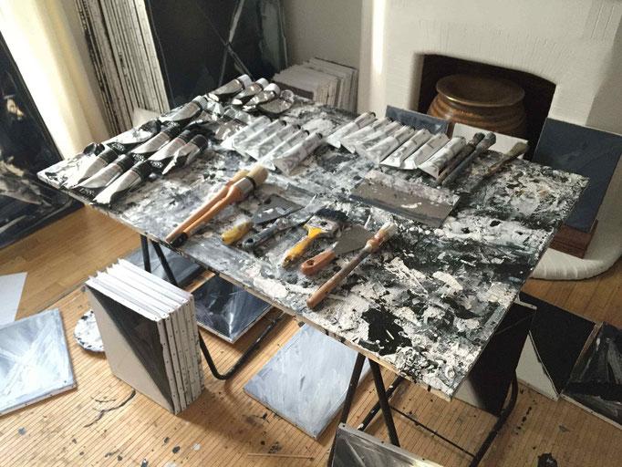 François-Xavier ALEXANDRE, table de peinture, atelier de la rue du Maine