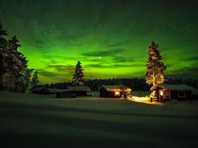 Tolle Polarlichter Show über den Gästehütten Lapplands Drag