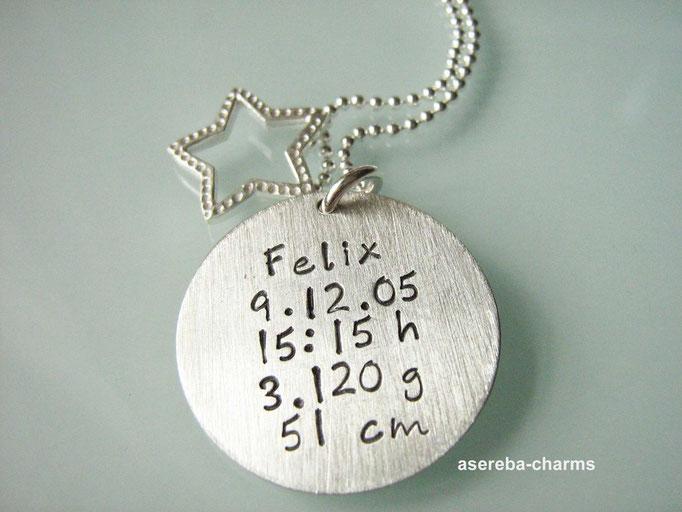 """Geschenk für die Mami zur Geburt: Kette """"Sterne fallen nicht..."""" + Rückseite beschriftet mit Namen, Geburtsdatum, Uhrzeit, Gewicht und Größe"""