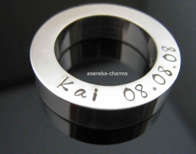 Massiver Sterlingsilber-Ring mit Name & Datum z.B. zur Geburt