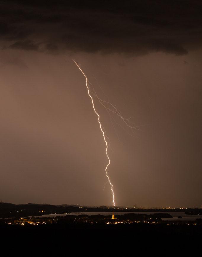 Gewitter/Blitz, Bodensee richtung Radolfzell / Konstanz, Deutschland, 2014 06 28 (MP0384) © Michael Pfenning