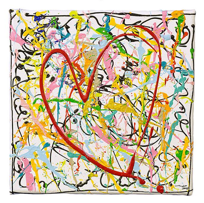 WILD LOVE (2015, 20x20cm, Acryl auf Leinwand, MP5021) © Michael Pfenning. Verkauft/Sold