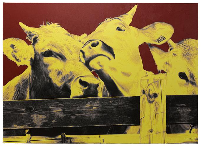 THREE FRIENDS WITH A PERFECT PLAN (2015, 1/8, 140x100cm, MP0340, Photographie, Inkjet-Pigmentdruck auf Leinwand, Acryl) © Michael Pfenning. Verkauft/Sold: 1+2 von 8, Verfügbar/Available 3-8 von 8