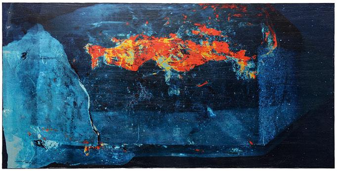 BLAUES NACHTGLÜHEN (2013, 1/8, 79x40cm, MP0324, Photographien, Fine Art Print, auf MDF, Acryl) © Michael Pfenning.