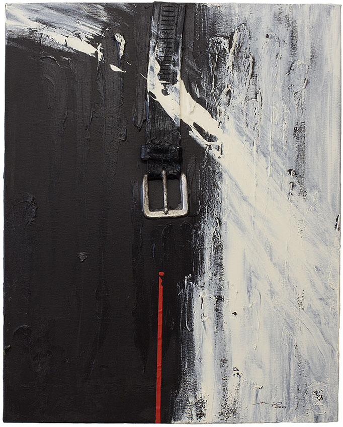 DIE GESCHICHTE MIT DEM GÜRTEL  TEIL1 (2013, 40x50cm, Assemblage, Acryl auf Leinwand, MP5003) © Michael Pfenning. Verkauft/Sold