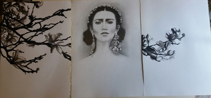 Titolo: Magnolia (Trittico) Tecnica: grafite e acquerello su carta Misure: 106 x 50 cm