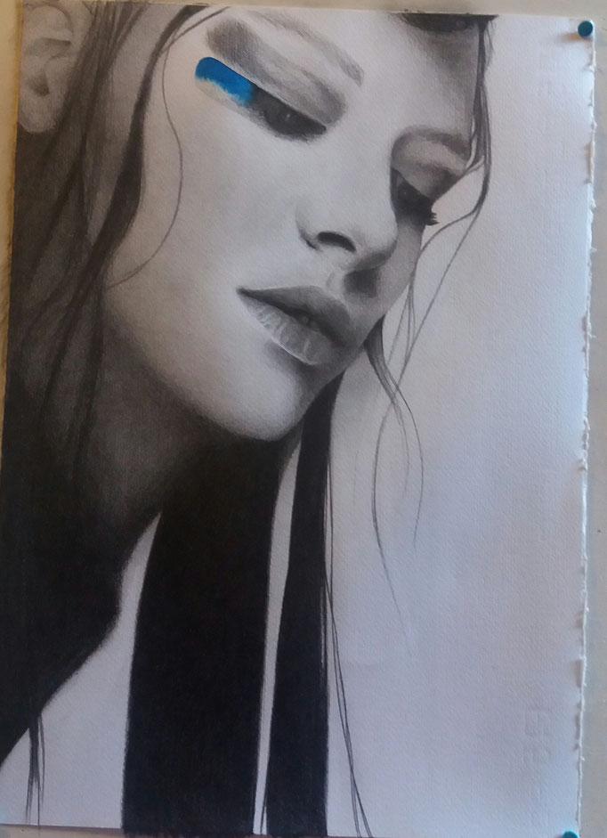 Titolo: Ritratto di donna Tecnica: grafite e acquerello su carta Misure: 35.5 x 50 cm