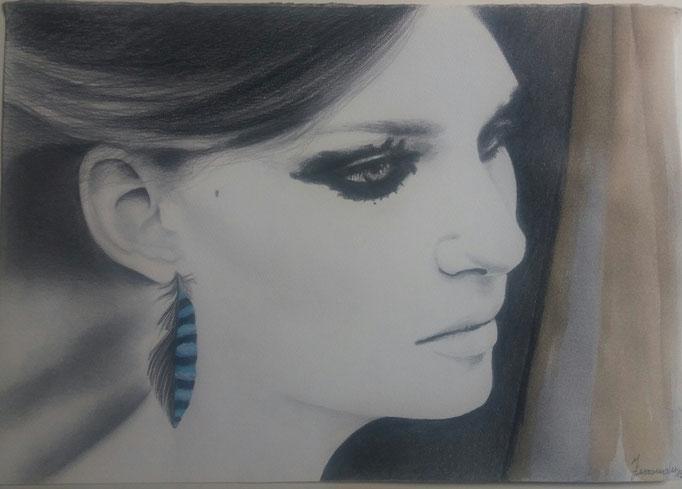 Titolo: La ghiandaia Tecnica: grafite, caffè e acquerello su carta Misure: 32.5 x 46 cm