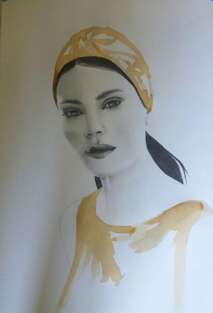 Titolo: la nuotatrice Tecnica: grafite e caffè su carta Misure: 50 x 35.5 cm