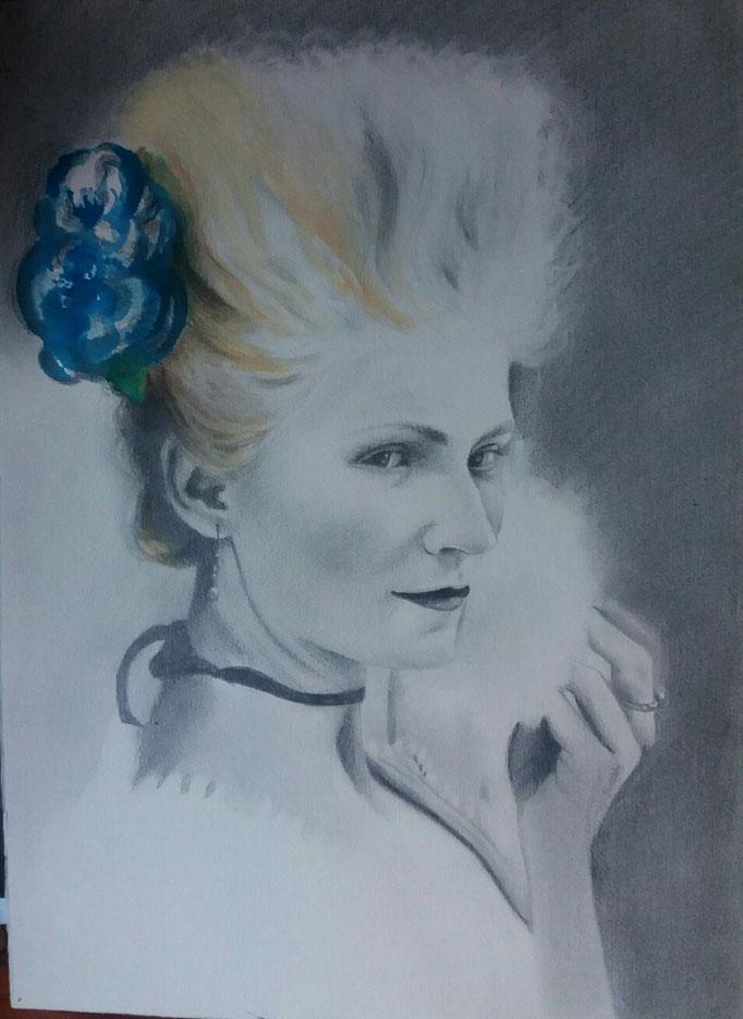Titolo: Omaggio a Maria Antonietta di Sofia Coppola Tecnica: grafite e acquerello su carta Misure: 33 x 46