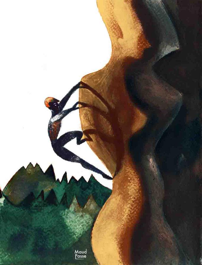 """""""Que la montagne est beau"""",  Montagne Magazine, chronique """"ça pic!"""", août 2015. Article à propos de la parité homme/femme dans le milieu de l'alpinisme."""