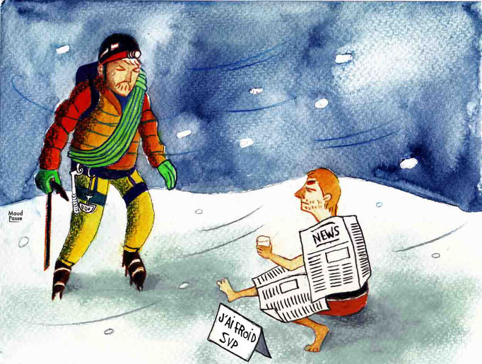 """""""Amis alpinistes-écrivains-auteurs : repouillons-nous !"""",  Montagne Magazine, chronique """"ça pic!"""", décembre 2016."""