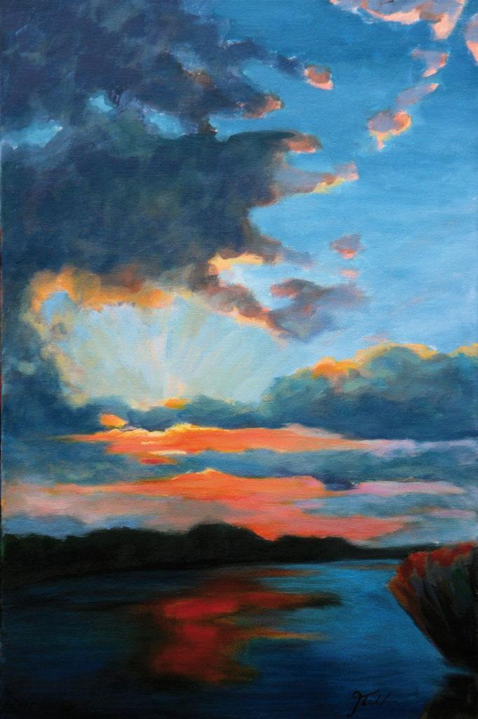 Titel:  Sonnenuntergang 2       Größe:  30/60 cm        Entstehung:  November 2015        Medium: Acryl auf Leinwand