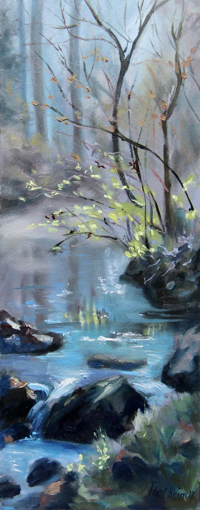 Titel:  Sonne über dem Fluß       Größe:  50/20 cm       Entstehung:  Januar 2017       Medium: Öl auf Holz, im Schattenfugenrahmen