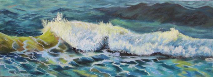 Titel:  die Welle       Größe:  30/80 cm       Entstehung:  November 2016       Medium: Acryl auf Leinwand