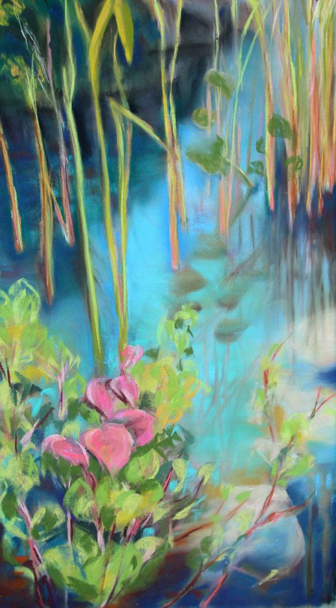 Titel:  Sonne am See       Größe:  57/30 cm       Entstehung:  Januar 2014       Medium: Pastel auf Pastellcard