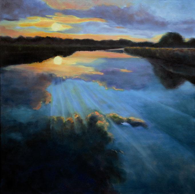 Titel:  Sonnenuntergang 1       Größe:  80/80 cm        Entstehung:  November 2015        Medium: Acryl auf Leinwand