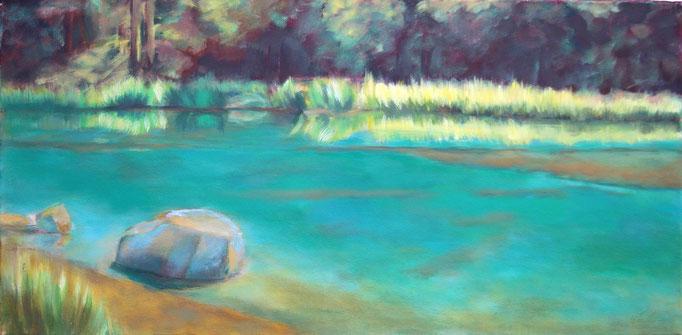Titel:  grüner See       Größe:  30/80 cm       Entstehung:  Januar 2015       Medium: Acryl auf  Leinwand