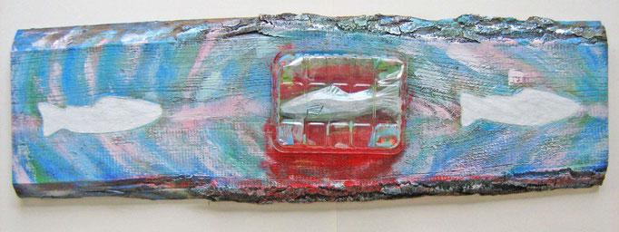 """""""Weissagung III"""", Collage, MT auf Eschenholz, ca. 25x84x3cm, 2014"""