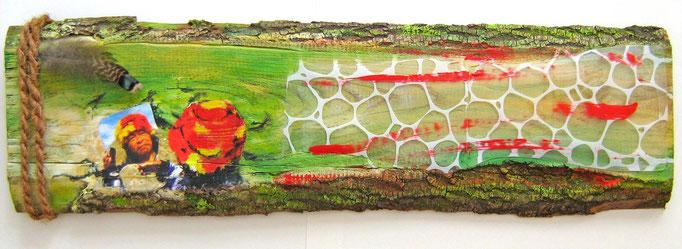 """""""Weissagung IV"""", Collage, MT auf Eschenholz, ca. 25x84x3cm, 2014"""