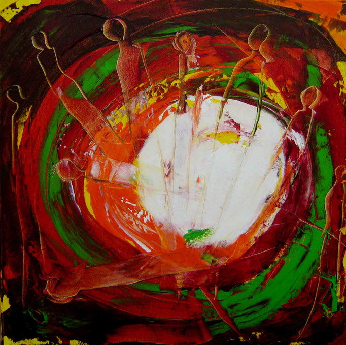Aus der Tiefe IIa, Acryl auf Leinwand, 60x60cm, 2017