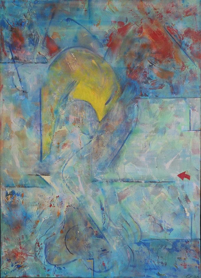 Gelbes Trikot, Acryl auf Leinwand, 50 x 70 cm