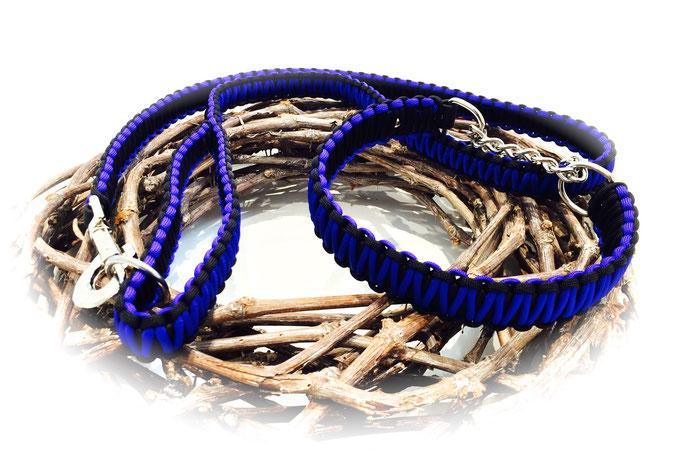 Standard-Leine und Paracord/Biothane-Halsband im Set (Farben: Electric Blue/Black)