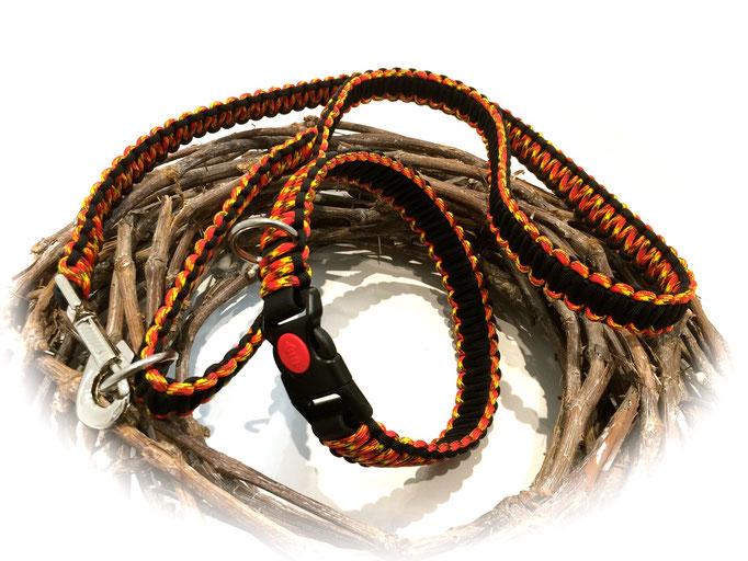Standard-Leine und Paracord/Biothane-Halsband im Set (Farben: Fireball/Black)
