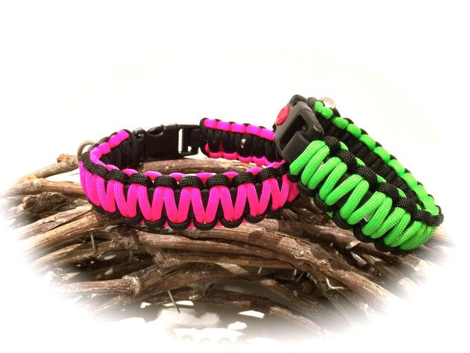 unten: Neon Pink/Black; oben: Neon Green/Black