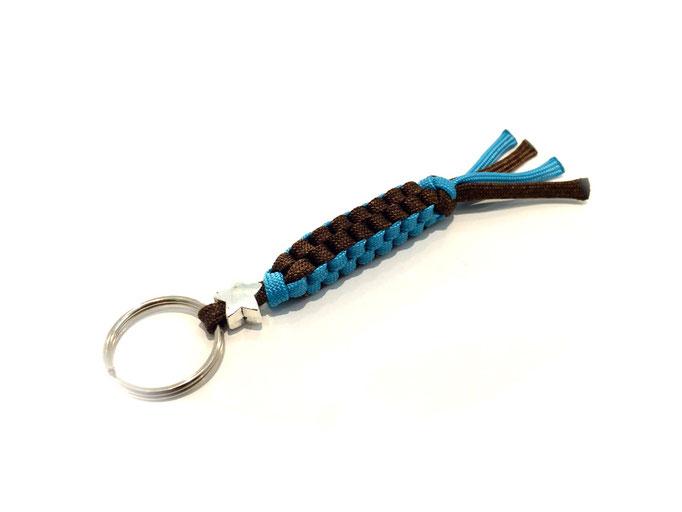 Spezial-Schlüsselanhänger mit Bead, Neon Türkis/Walnut (Kundenwunsch; Herstellung auf Anfrage)