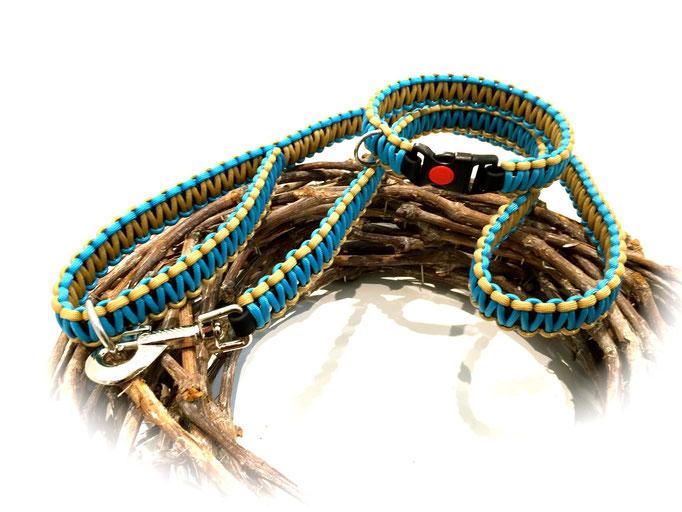Standard-Leine und Paracord/Biothane Halsband im Set (Farben: Neon Türkis/Tan 380)