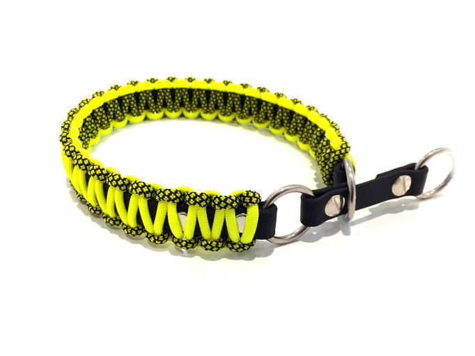 Neon Yellow/Neon Yellow Diamonds mit Biothane Zugstopp
