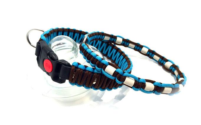 Walnut/Neon Türkis mit passendem Zeckenhalsband