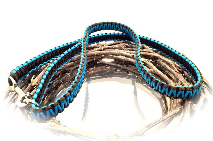 Standard-Leine (Farben: Neon Türkis/Walnut)
