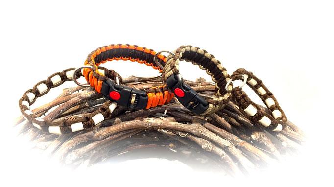 International Orange/Walnut und Tan/Walnut Halsbänder je mit passendem Zeckenhalsband in Walnut
