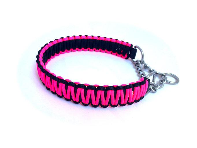 Neon Pink/Black mit Zugstoppkette Edelstahl