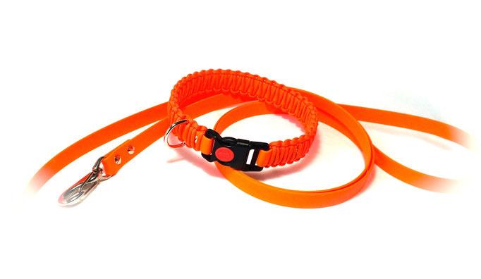 Biothane Neon Orange/Paracord Neon Orange mit passender Biothane-Leine