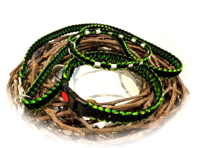 Standard-Leine, Paracord/Biothane-Halsband und EM-Keramik Zeckenhalsband im Set (Farben: Gecko/Black)