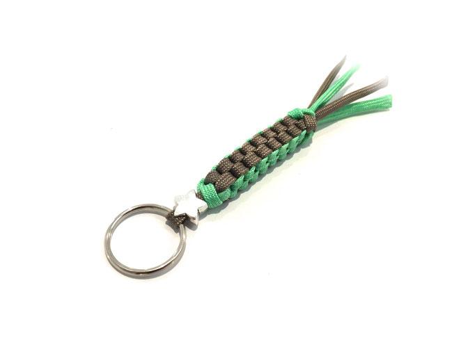 Spezial-Schlüsselanhänger mit Bead, Mint/Tan (Kundenwunsch; Herstellung auf Anfrage)