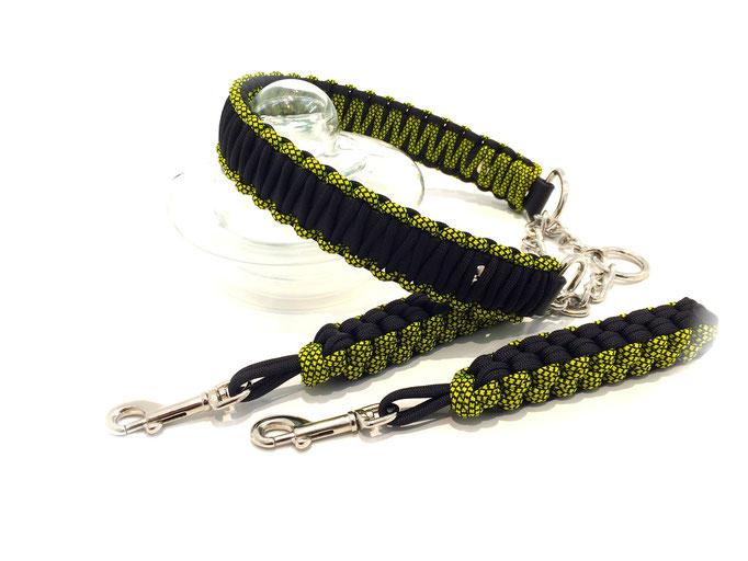 Neon Yellow Diamonds/Black mit Zugstoppkette Edelstahl und passenden Bringseln
