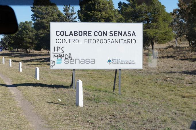 Contrôle sanitaire pour entrer en Patagonie !