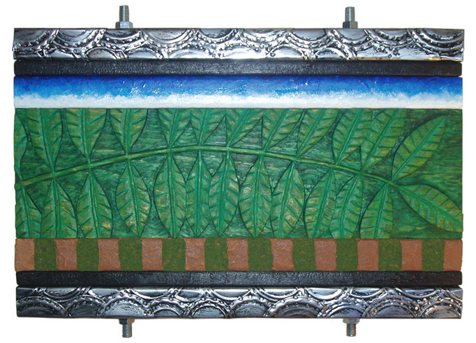 """St. Elmo: 21"""" x 16"""" x 3 1/2"""" wood carving, acrylic, burnt wood, metal can lids, threaded rods and bolts, model train grass, red Tennessee clay"""