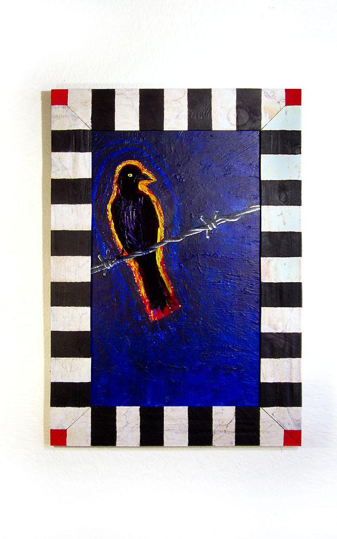 "Bird On A Wire: 21 x 30"" acrylic on wood panel"