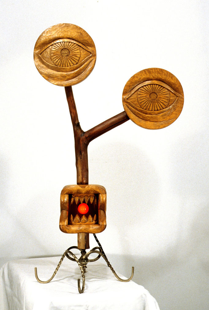 """The Watcher: 11 x 11 x 33"""" wood carving, mixed media"""