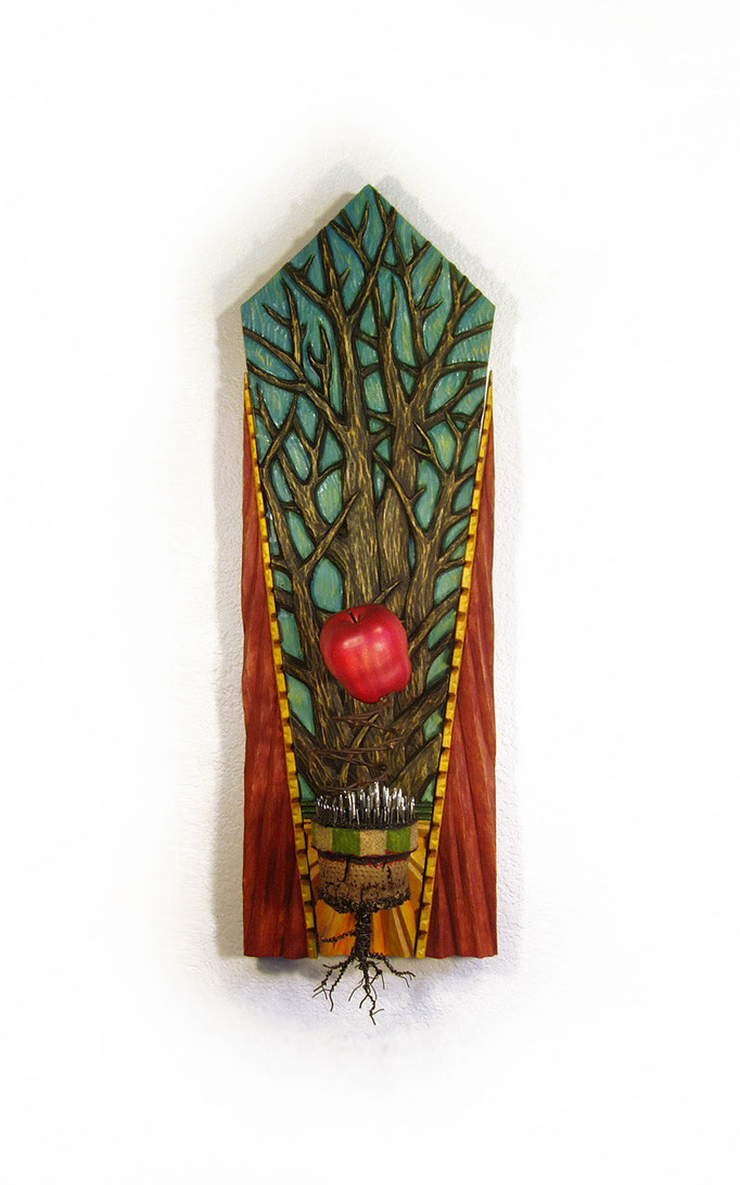 """Forbidden Fruit: 10"""" x 32"""" x 6"""" wood carving, mixed media/ SOLD"""