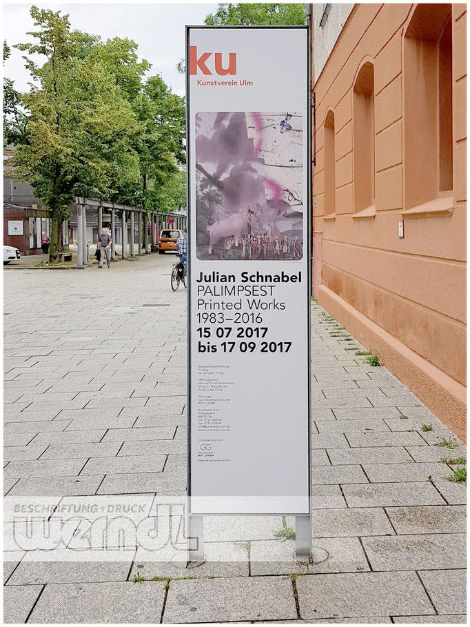 Beschilderung für Ausstellungen des Kunstverein Ulm e.V.