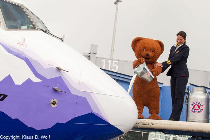 Eventfotografie, Pressefotos Bärenmarke Flugzeugtaufe, Flughafen München
